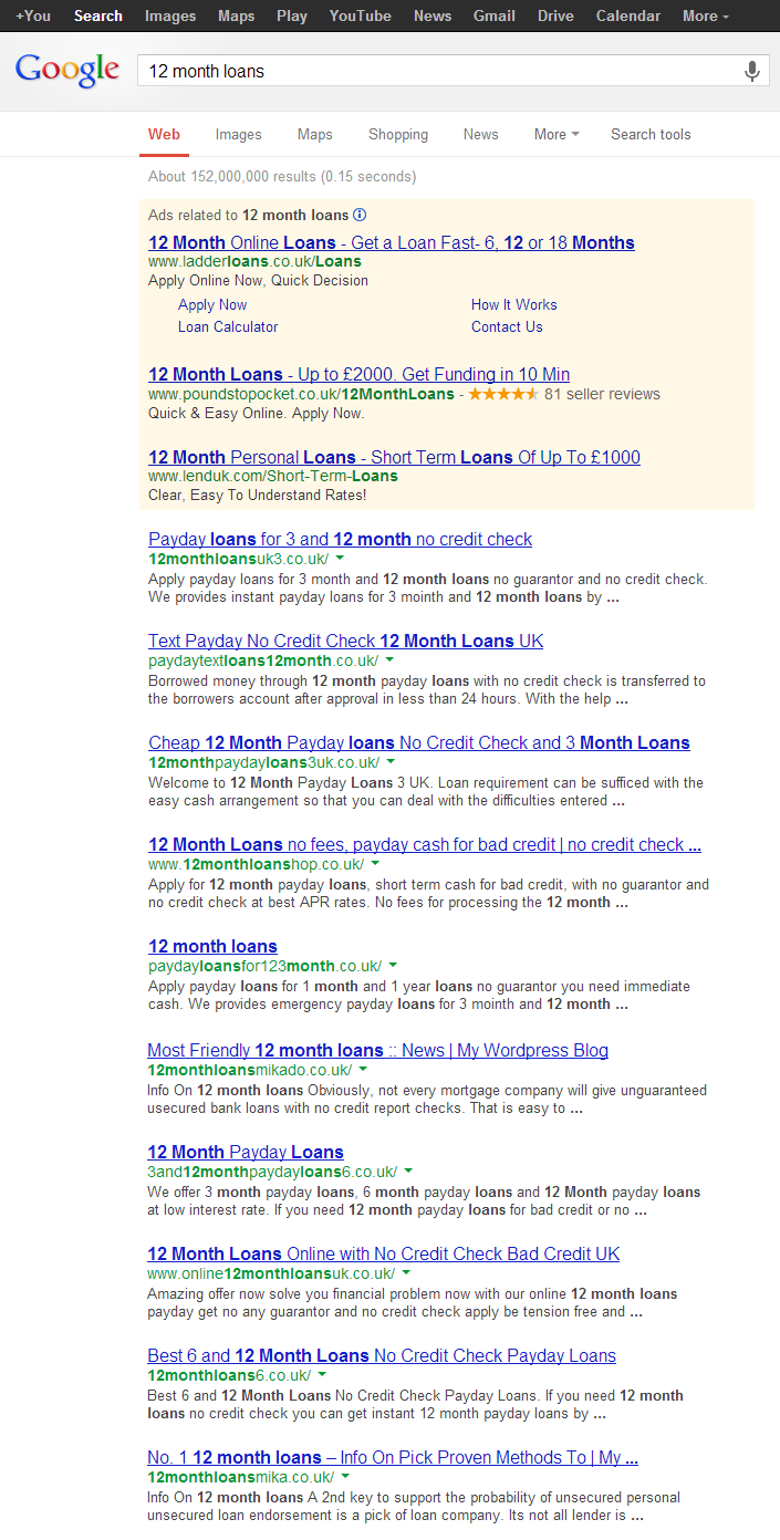 Figure 2.1 - The '12 month loans' SERP