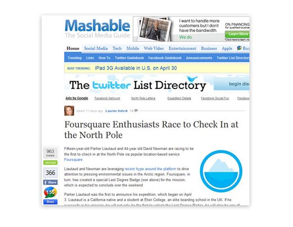 Foursquare enthusiasts race to check in at the North Pole - Mashable