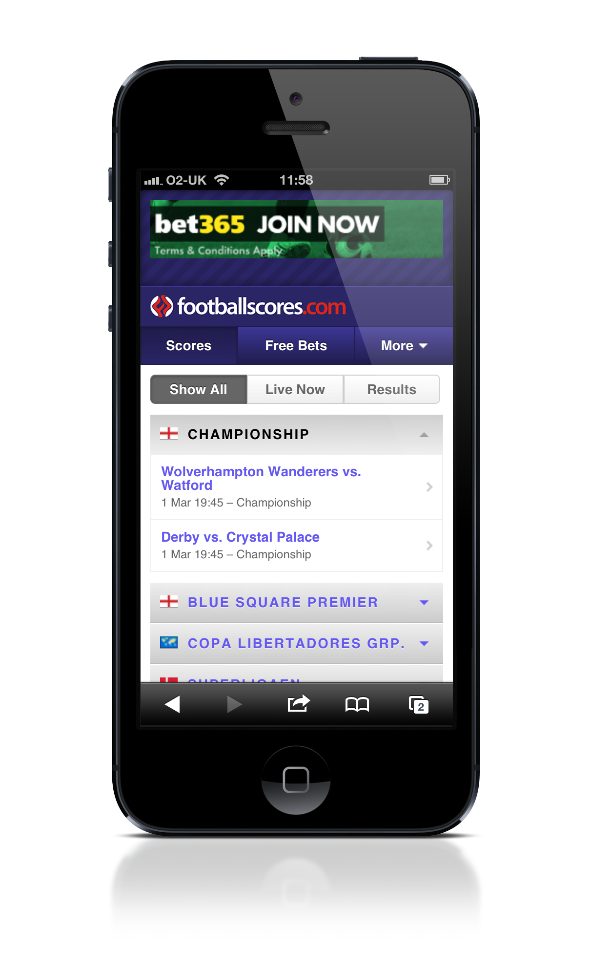Footballscores.com Mobile Site