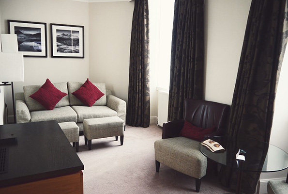 A modern living area at the Doubletree by Hilton, Dublane. Photo by Elevatormusik.