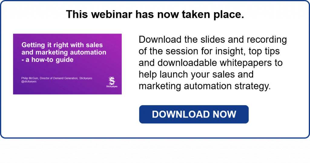 Sales and marketing automation webinar